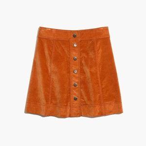 Madewell A-Line Velveteen Mini Skirt